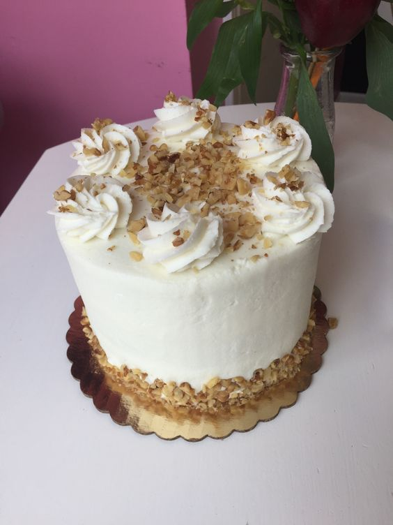 Carrot Cake - 3 layers of carrot cake with carrots, raisins and walnuts. Filled and frosted with cream cheese buttercream.   6 inch $35 8 inch $45