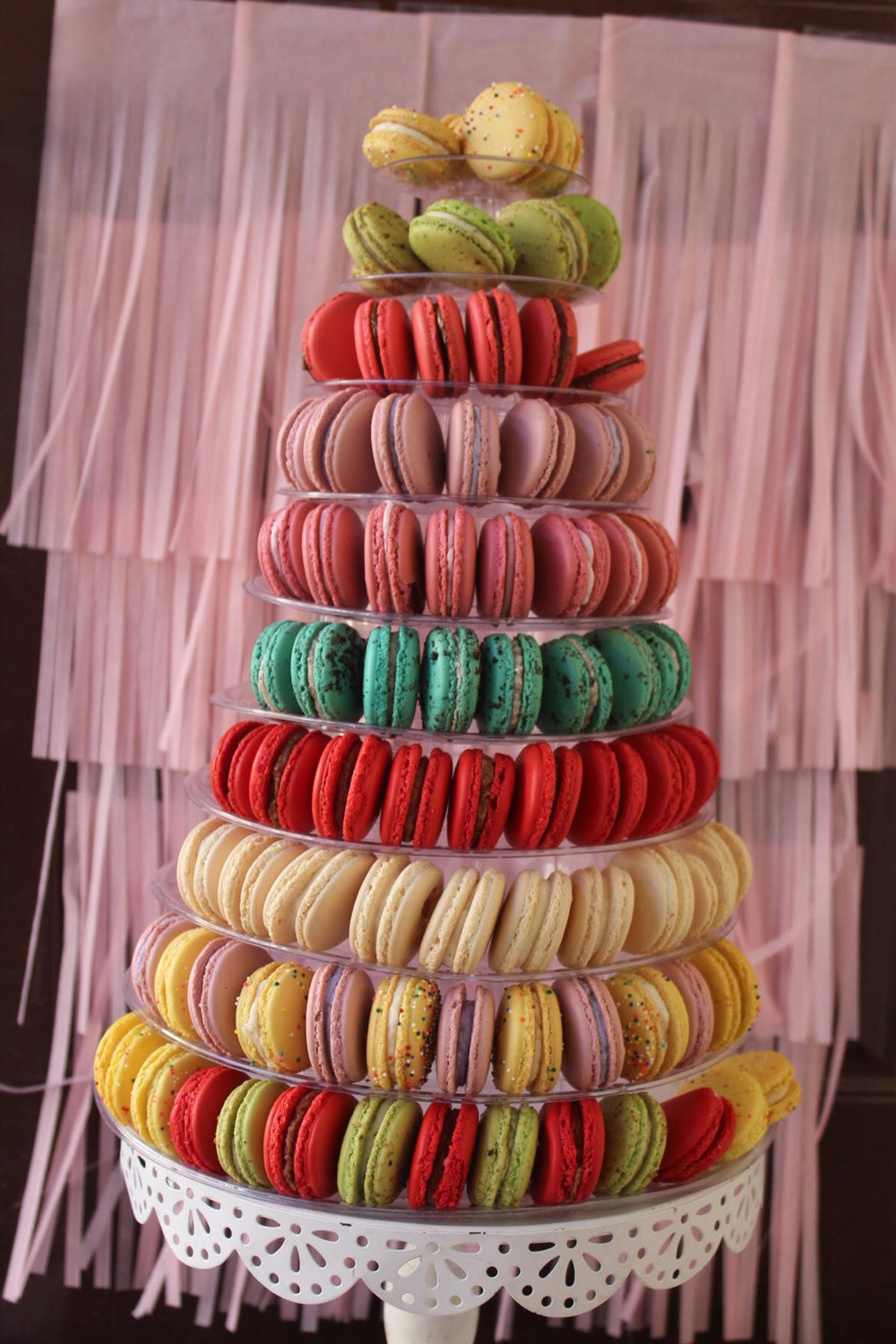 Contemporary Macaron Tower - Choose between 3-12 dozen macarons to assemble on an acrylic macaron tower.