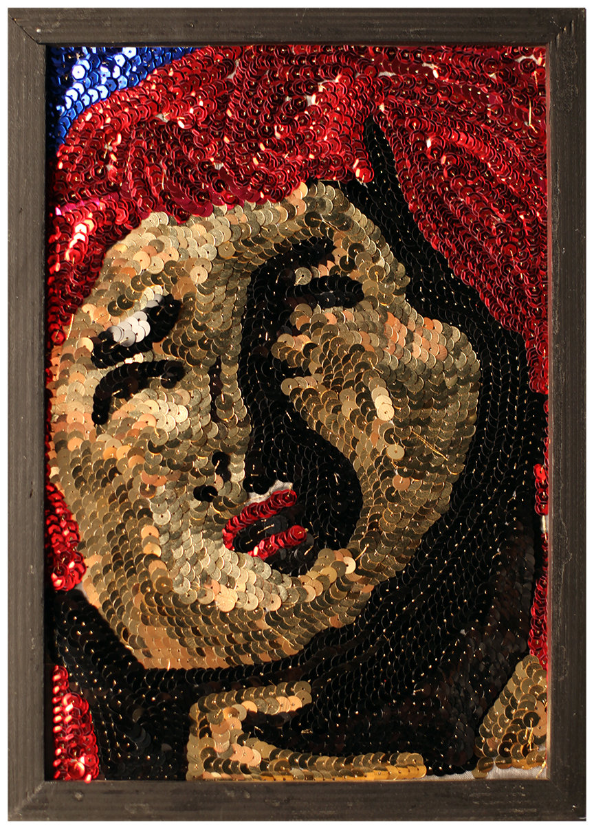 "2012, 8"" x 11"", sequin on mesh"