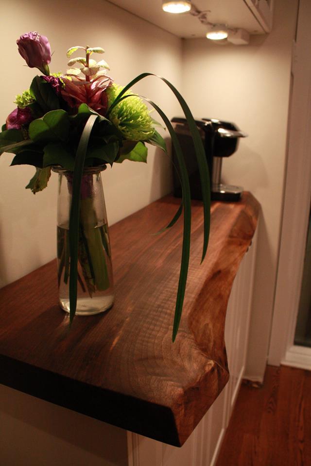 Live edge black walnut countertop