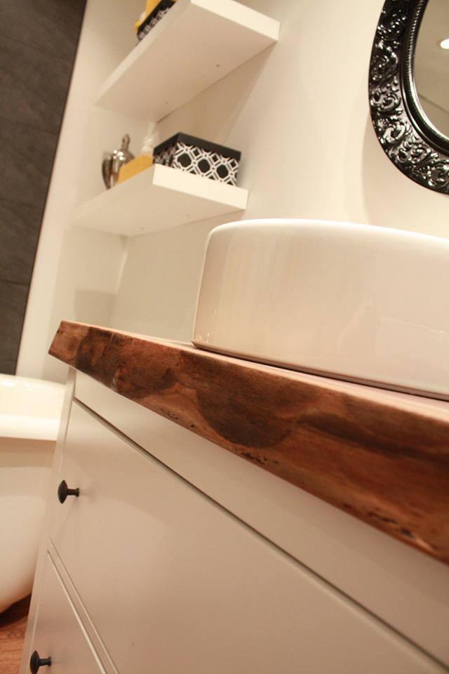 Live edge black walnut bathroom countertop
