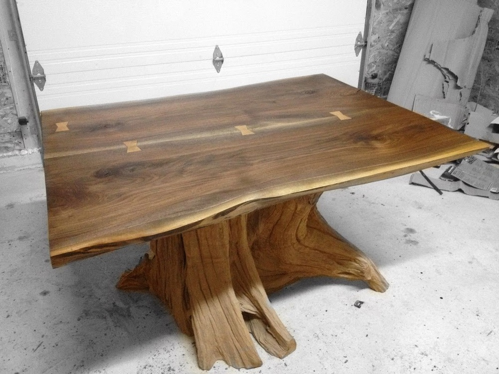 Live edge black dining table