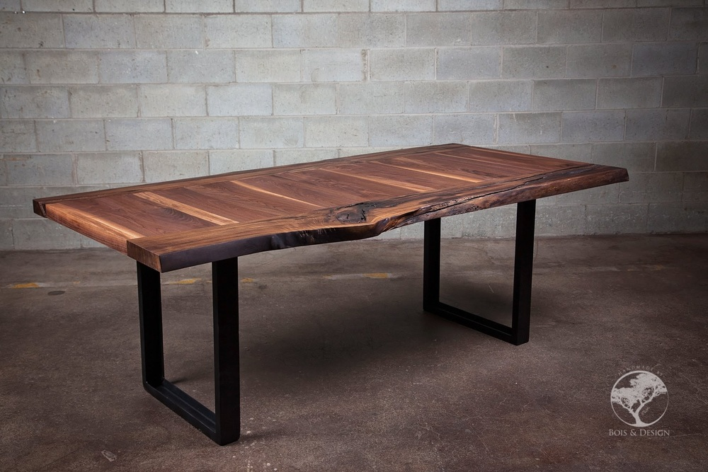 La Transverse Live edge black walnut dining table