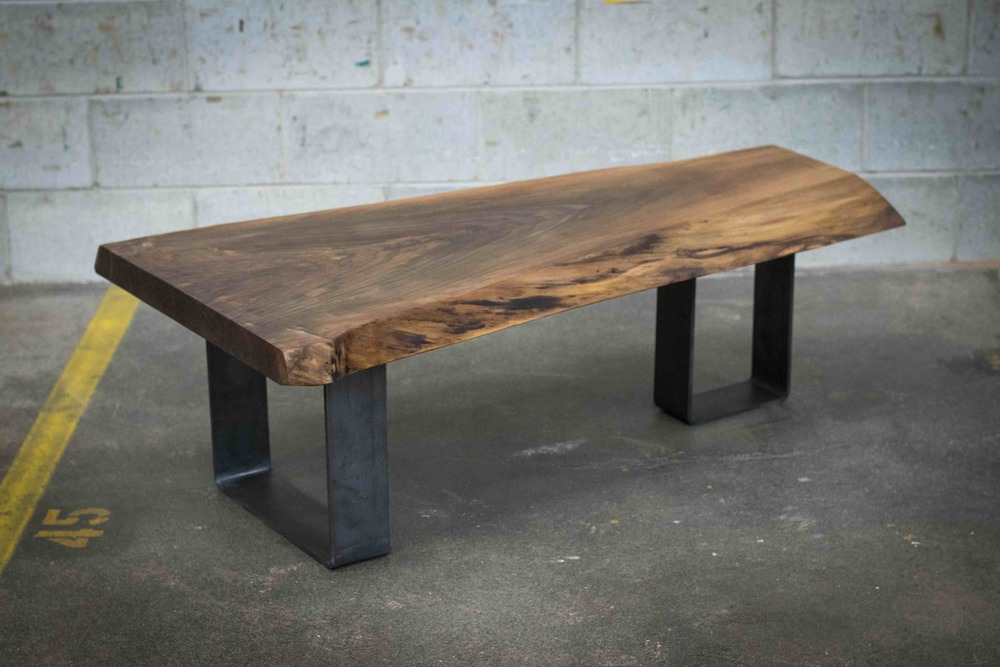 Table Caf Live Edge Noyer Noir Bois amp Design