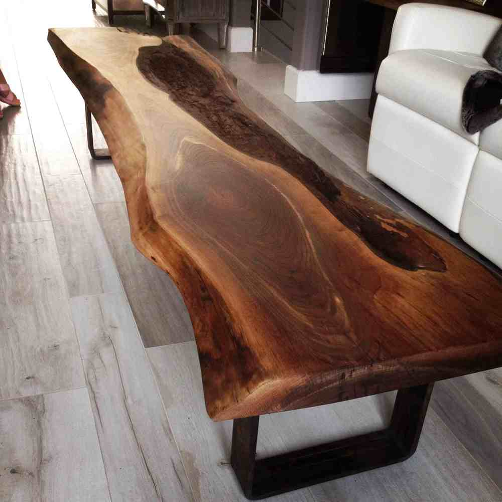 Vintage Industrial Live Edge Walnut Slab Coffee Table: Live Edge Black Walnut Coffee Table