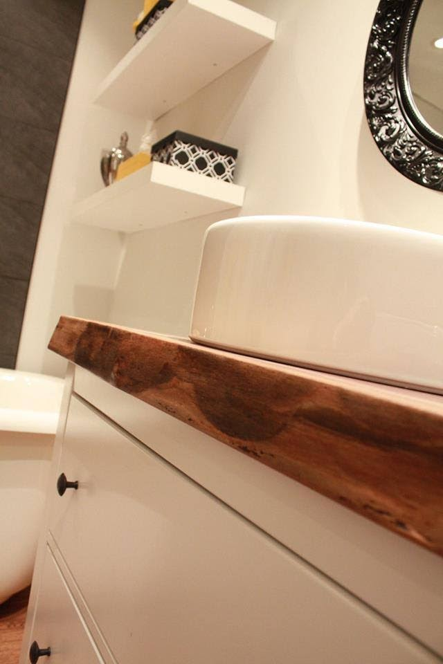 Live edge black walnut bathroom countertop