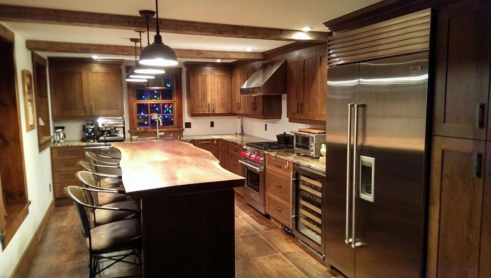 Live edge black walnut kitchen countertop
