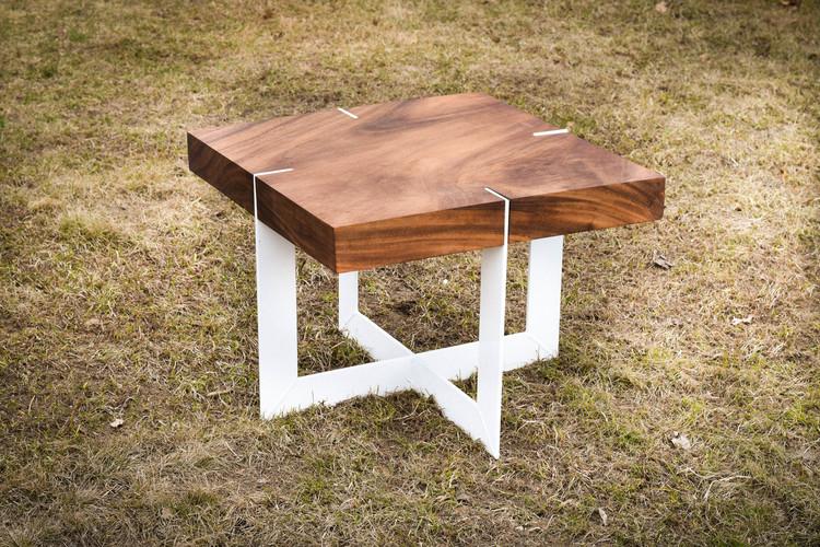 Square peruvian walnut coffee table