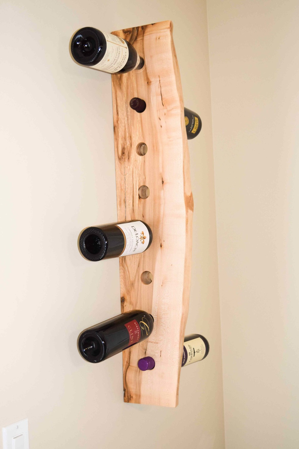 Live edge maple wine rack