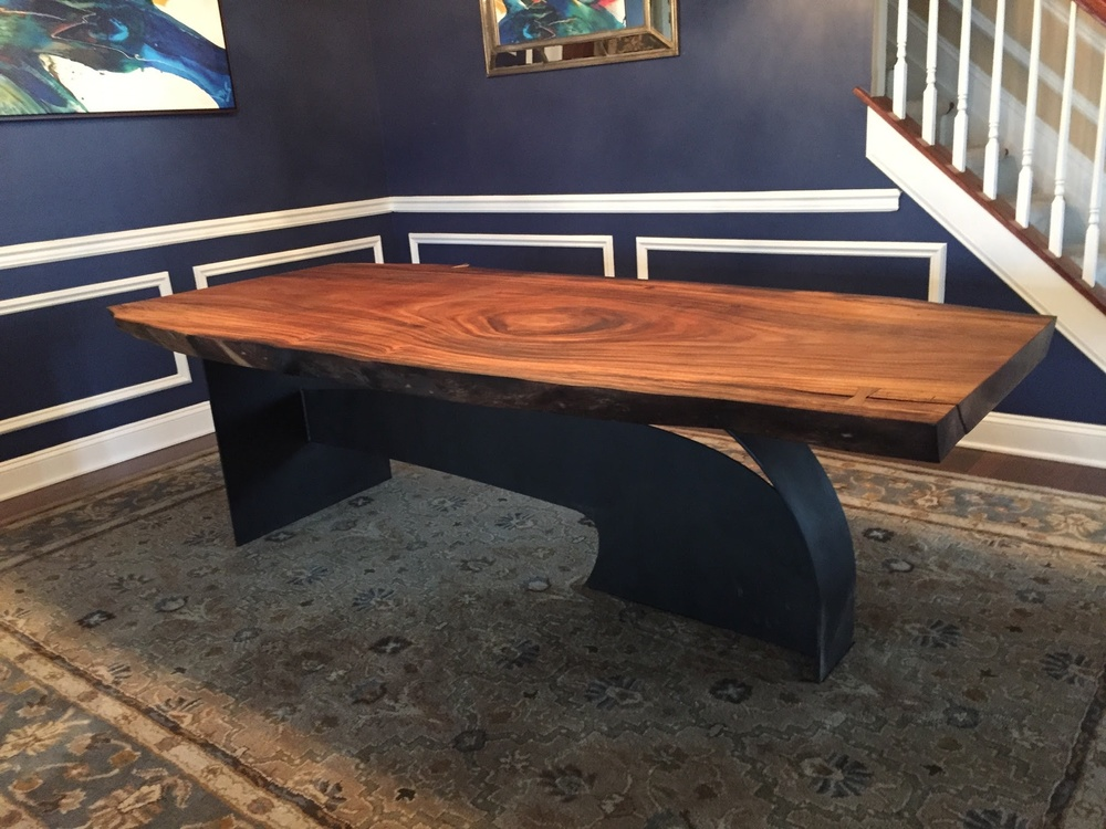 Parota live edge black walnut dining table on designer base