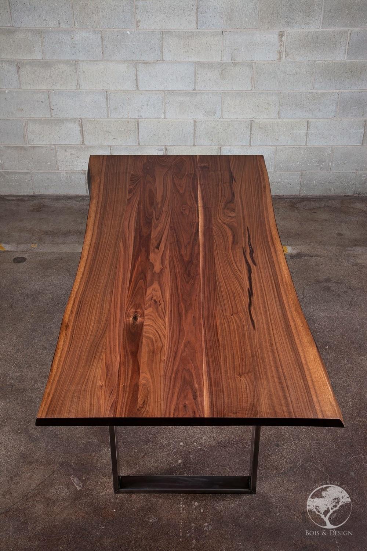 Diverso live edge black walnut dining table