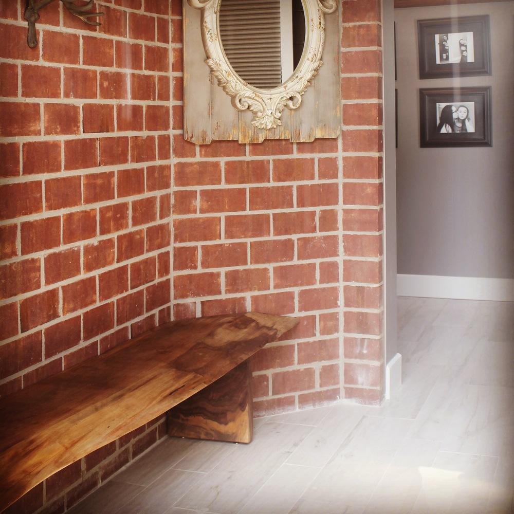 black walnut entry bench