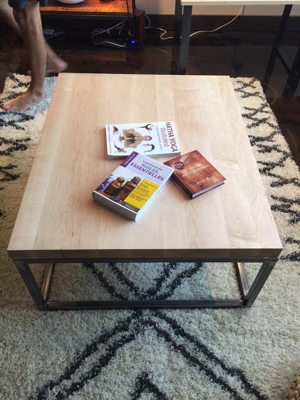 Maple coffee table on steel