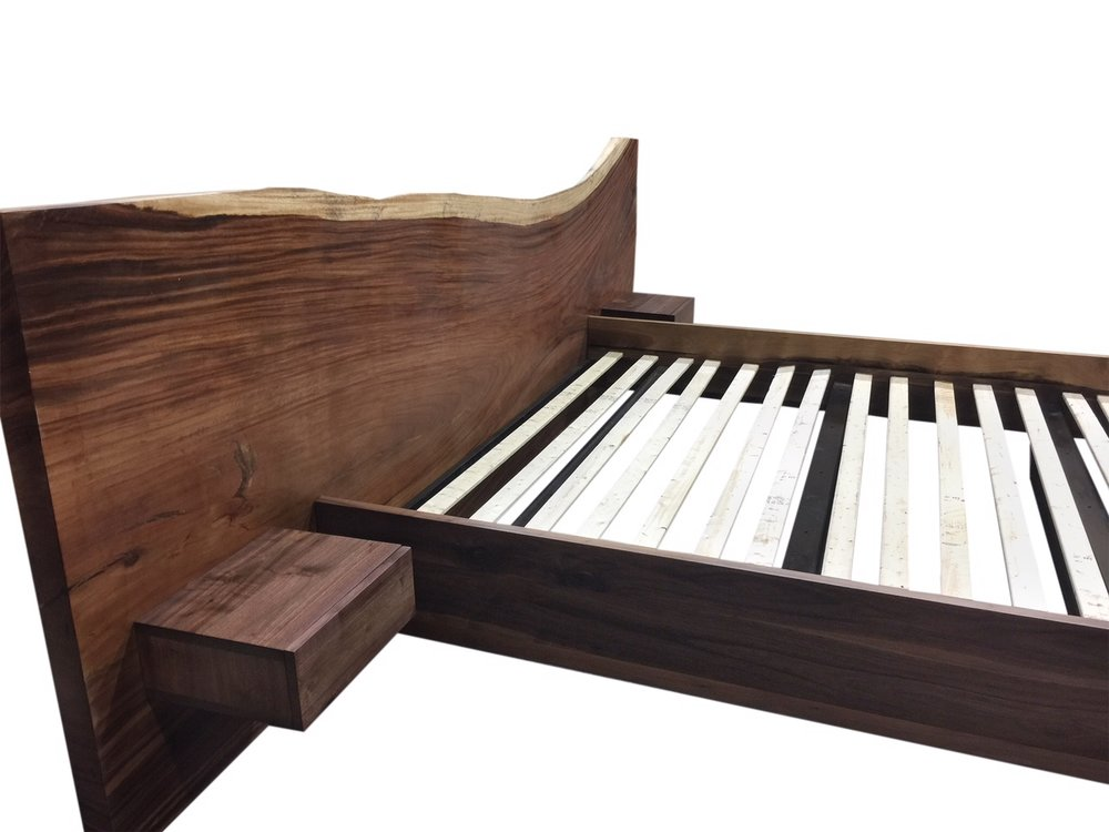 Parota slab bed headboard