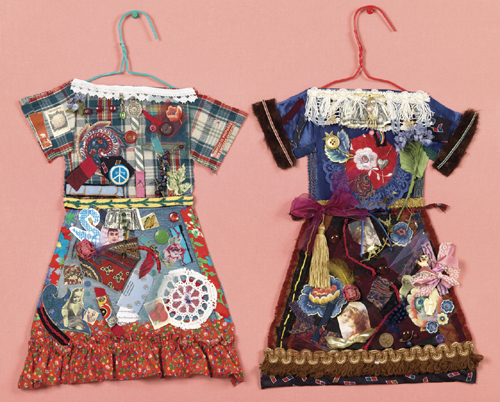 "Collage by Jane Lund     Sisters Dresses      (28 1/2"" X 23 1/2"")"