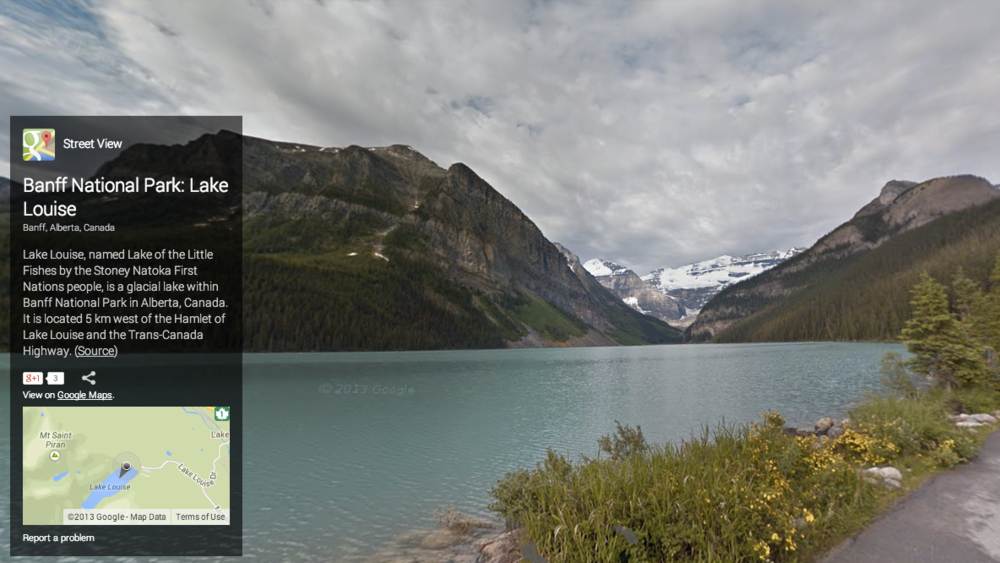Google Street View: Lake Louise in Banff National Park