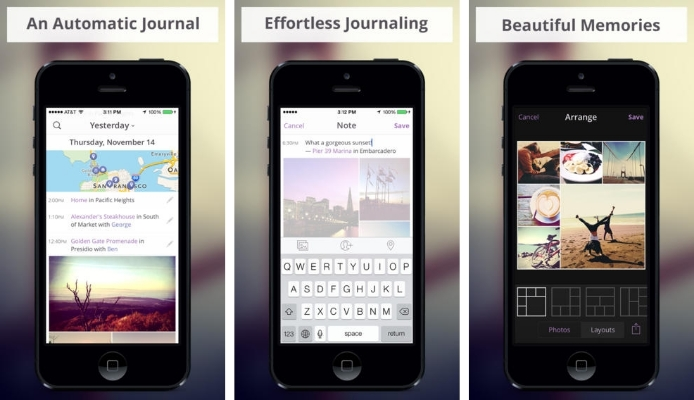 Heyday journal app for iOS
