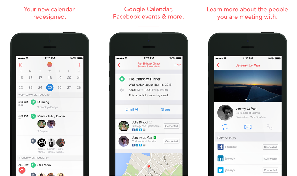 Sunrise calendar app for iPhone