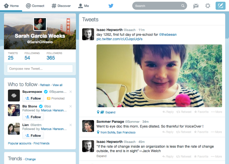 New Twitter website design for desktop