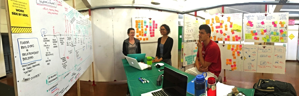 Kevin, Maria & Sarah in a working session during FEED Labs (B), Spring Quarter 2015 prior to their summer fellowships.