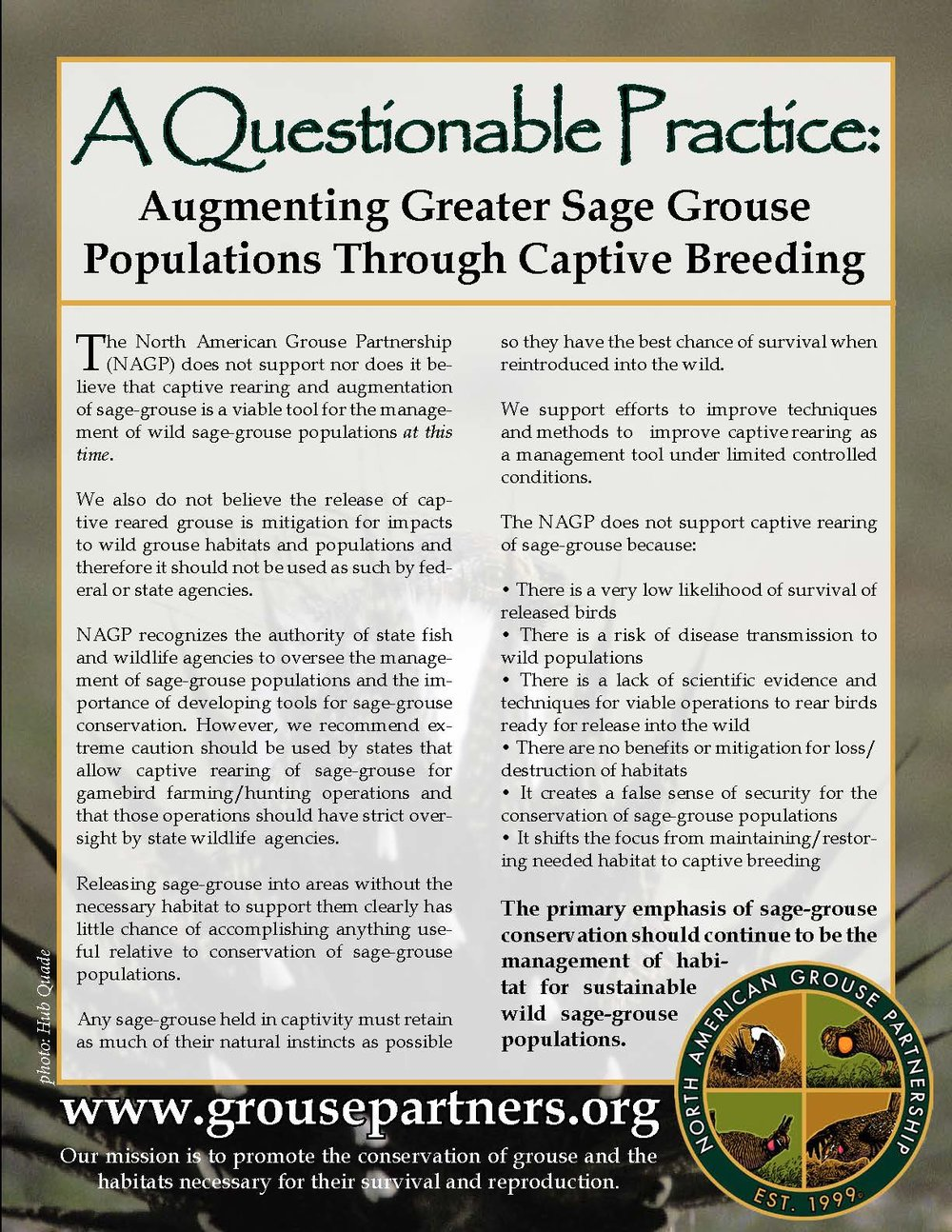 Click Here to Download a PDF of the Captive Rearing Position Statement