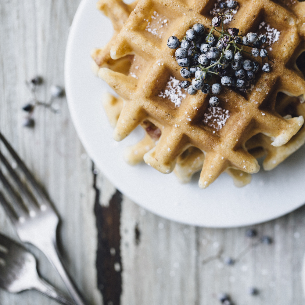 homemade waffles with elderberries