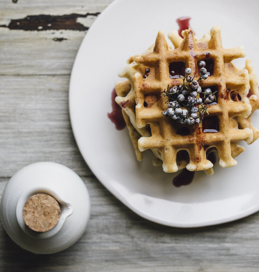 organic gluten-free waffles with homemade elderberry + cinnamon syrup