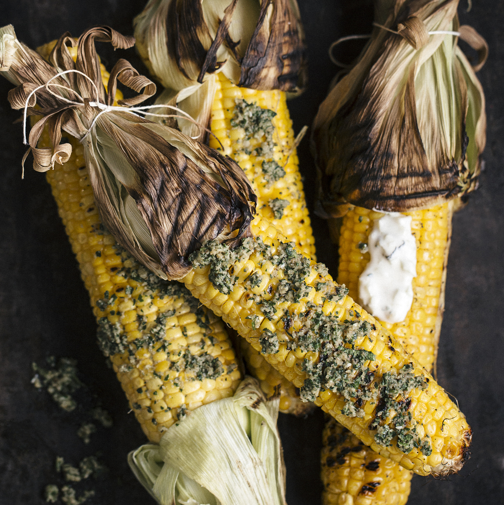 charred corn on the cob + sage pesto