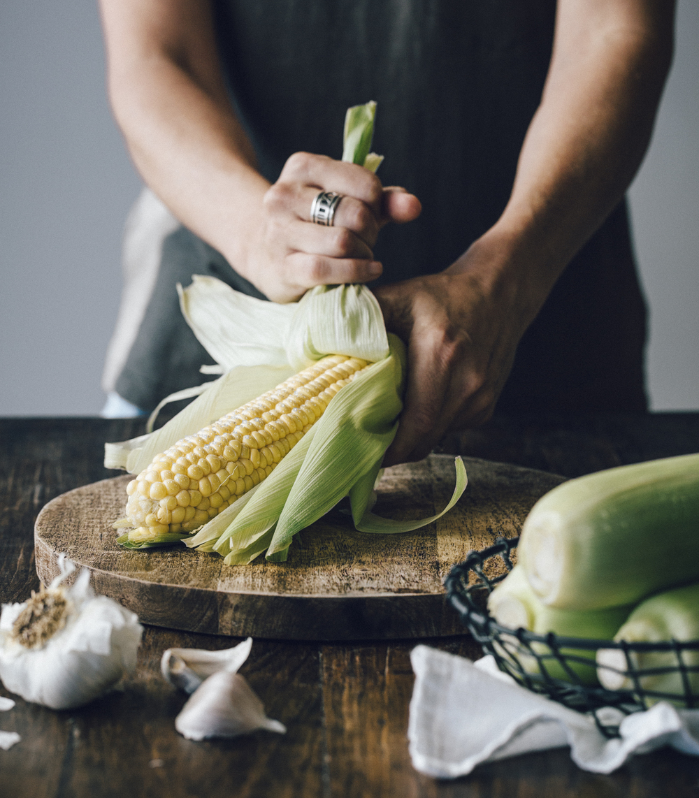 shucking corn
