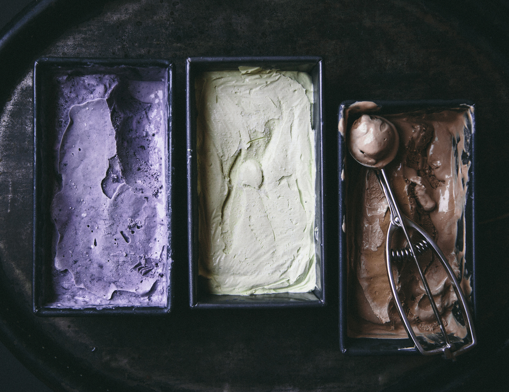 lavender blueberry, vanilla matcha, and coffee no-churn ice cream