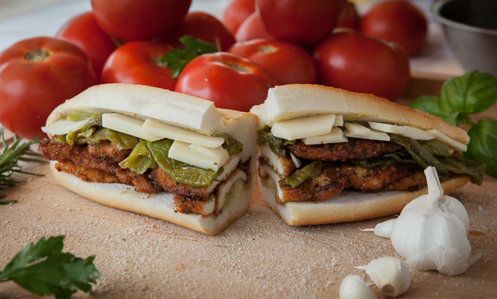 Pan-fried Chicken Cutlet with Long Hot Peppers, Sharp Provolone, drizzled with Extra Virgin Olive Oil
