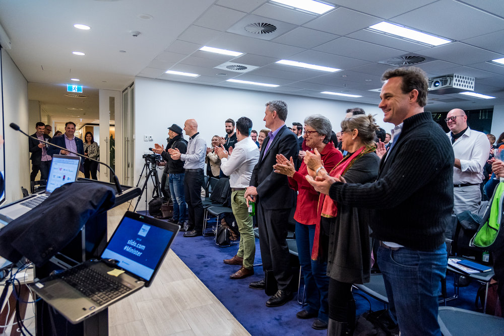 Guests at the Startup Grind event welcome the Minister  (Source: Startup Melbourne)