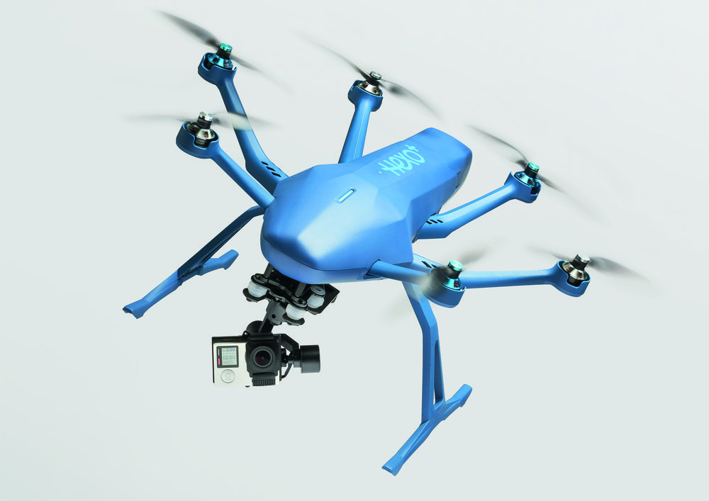 The Hexo+ drone captures images and videos with a mounted GoPro  (Image courtesy Squadrone System)
