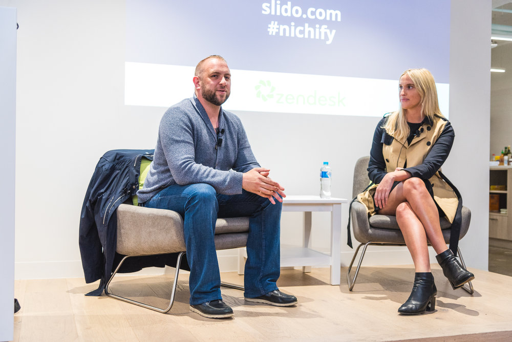 Chris Joannou speaking with Gretta van Riel for Startup Grind Melbourne's fireside chat