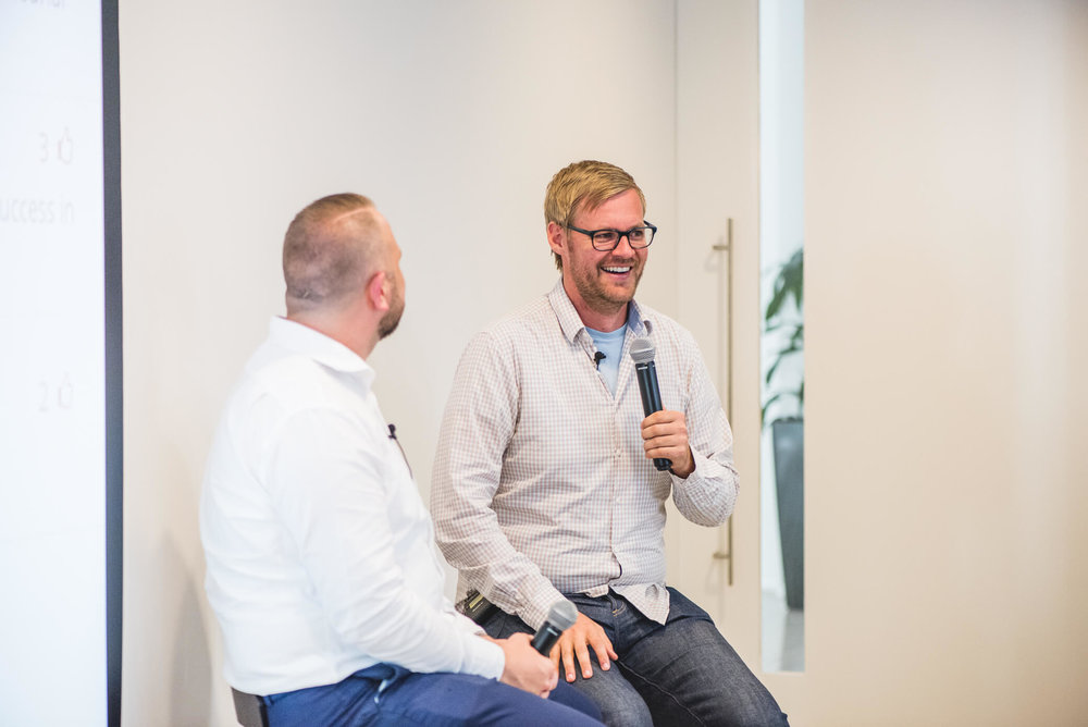 Andrew Hyde (right) speaking to Chris Joannou (left) at Startup Grind Melbourne