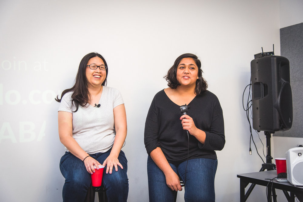Entrepreneurs Hollu Liu (left) and Shruti Shah (right) speaking at Startup Grind Melbourne (Photo credit:  Alyatau Photography)