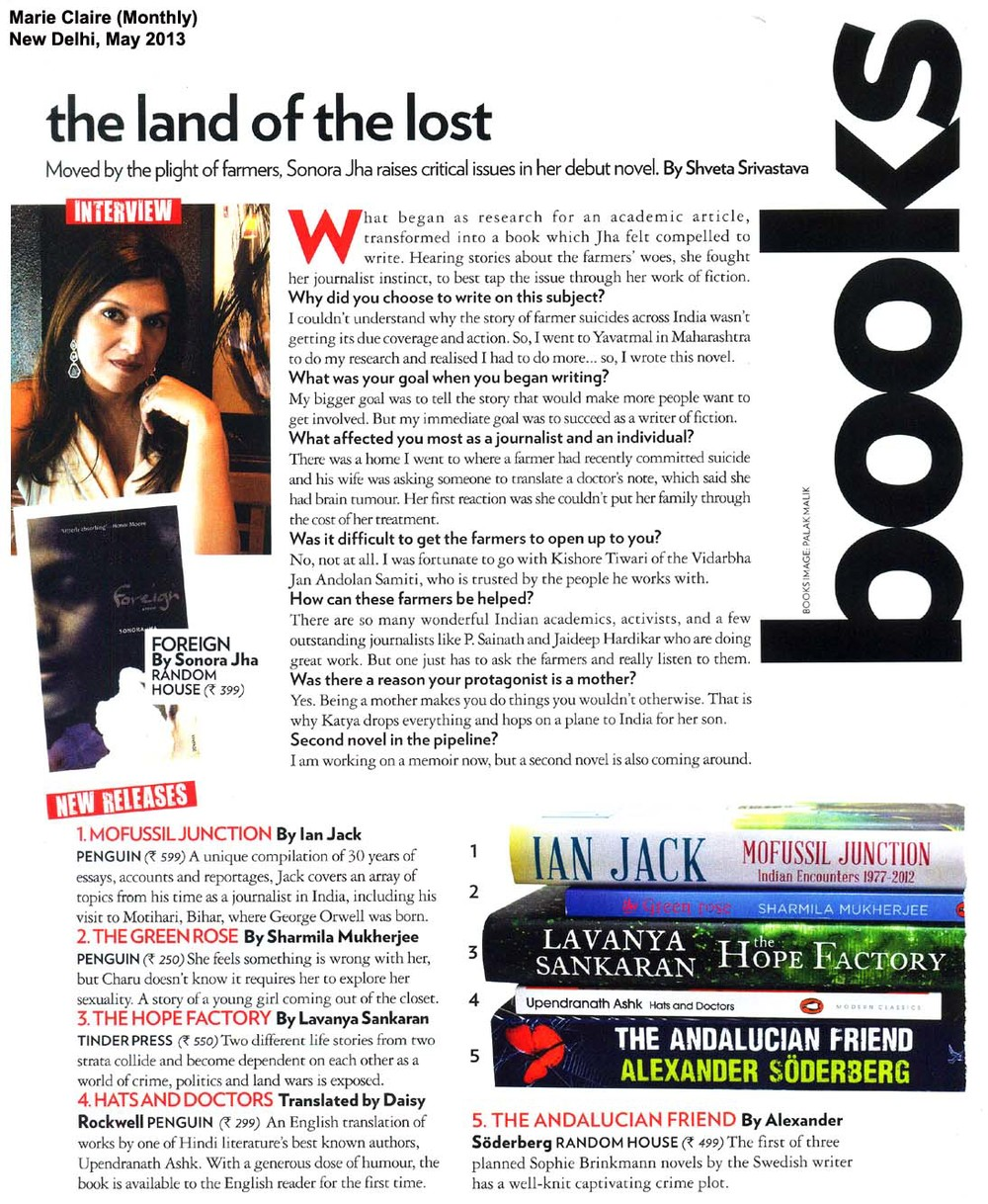 An interview in Marie Claire India's May 2013 edition