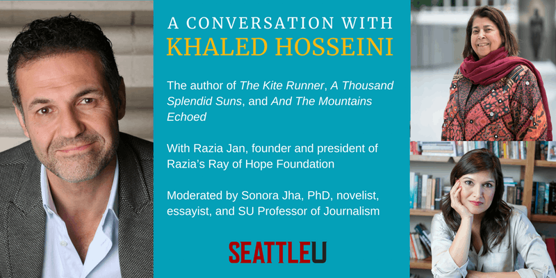 Khaled Hosseini ( The Kite Runner),  whose book  A Thousand Splendid Suns  has   been adapted for stage and will be  at Seattle Repertory Theater ,  will be in conversation with Sonora Jha on October 27, 2018, in Seattle.  Tickets here .
