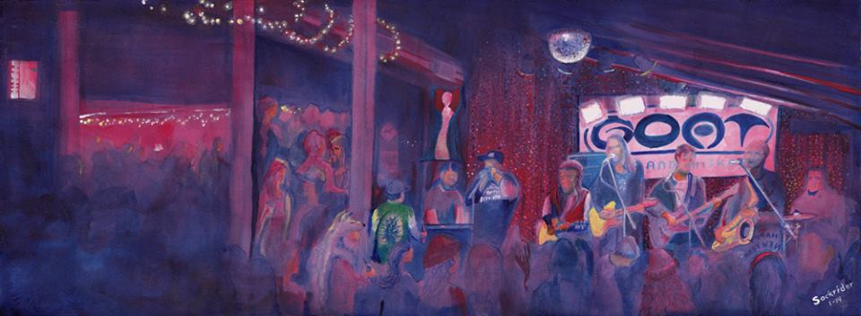 Painting by David Sockrider of Dewey Paul Band, New Years Eve 2013-14