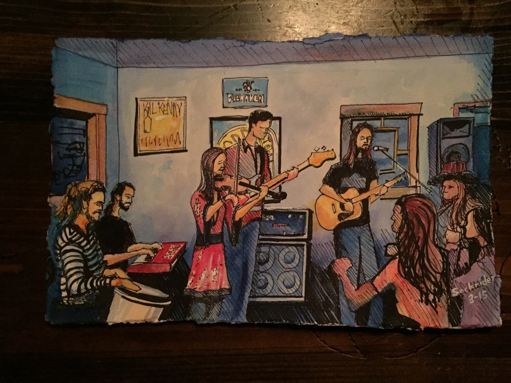 Dewey Paul Band (acoustic), live painting by David Sockrider, March 28, 2015