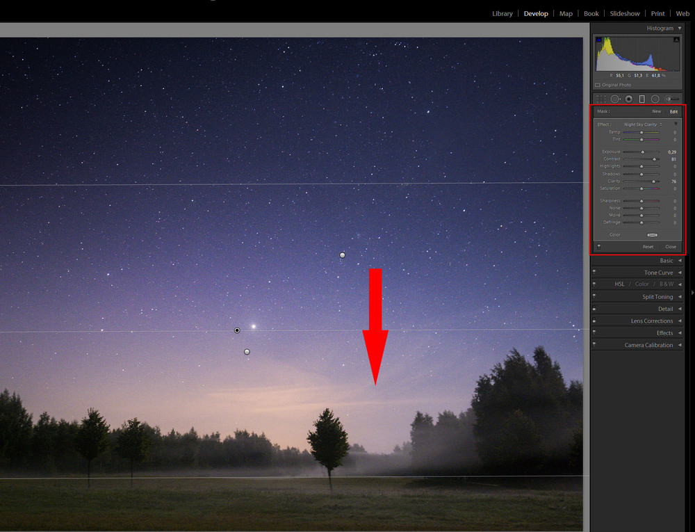 Tutorial - Night Sky & Stars Photography - Graduated Filter - Adjustment