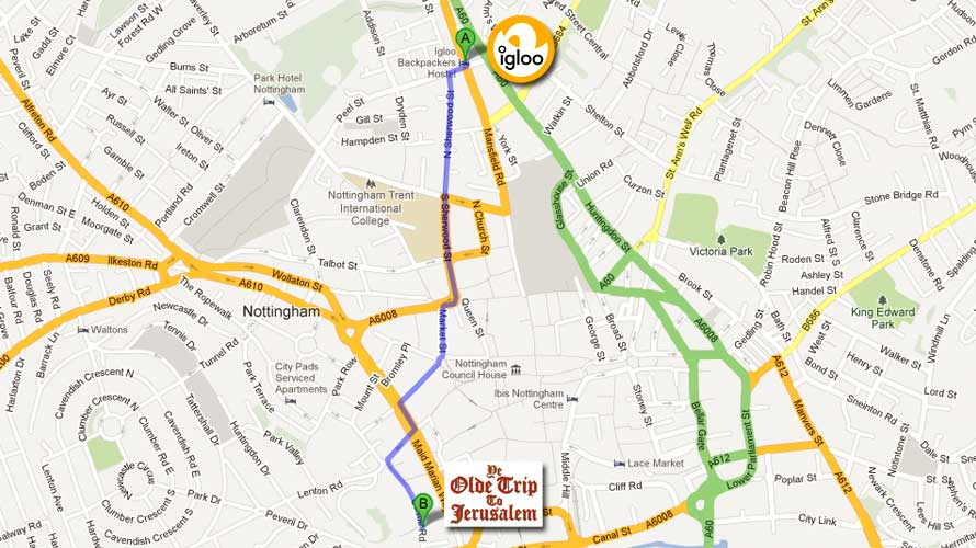 To open this walking from Igloo Hostel to Ye Olde Trip To Jeruselum map on Google Maps, just click the photo.