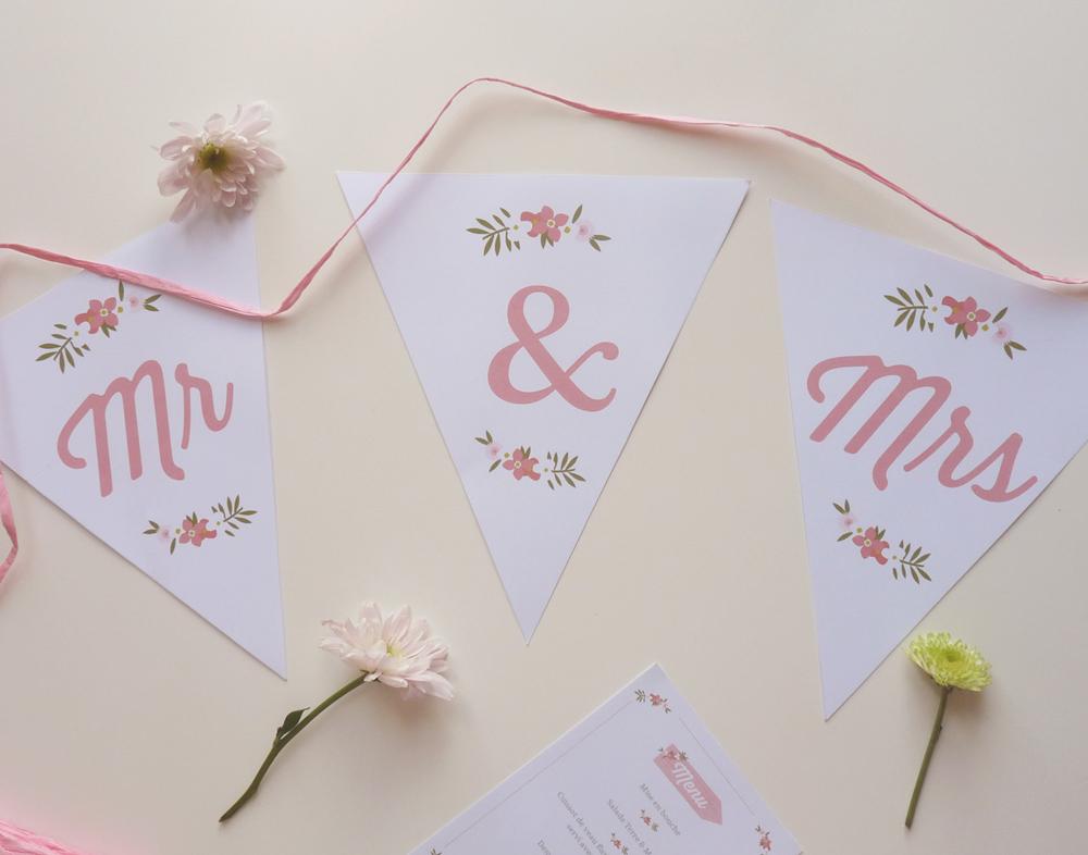 Fanion - Mr & Mrs - Mariage - Charlène Girodet