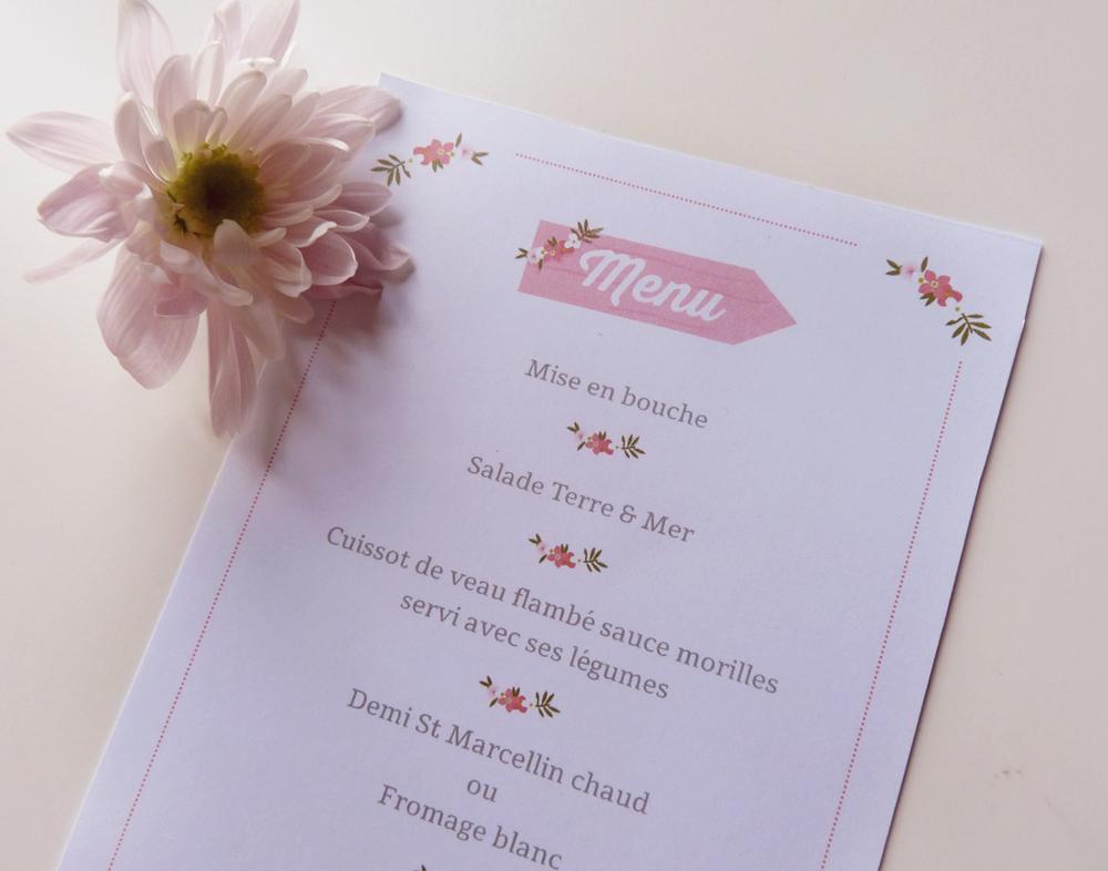 Menu - Mariage - Charlène Girodet