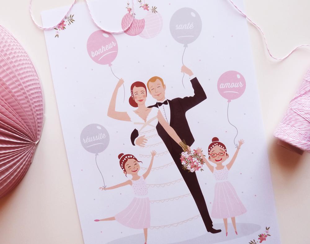 Illustration - Portait de famille - Mariage - Charlène Girodet