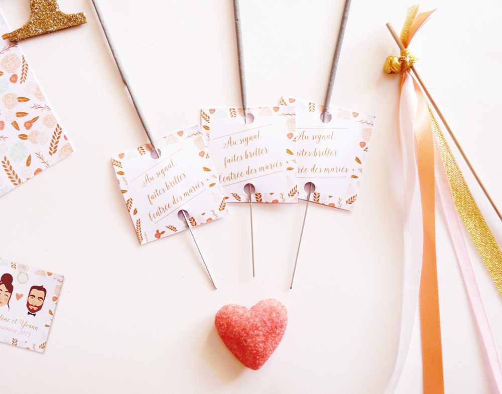 Étiquettes cierges magique mariage - Charlene Girodet