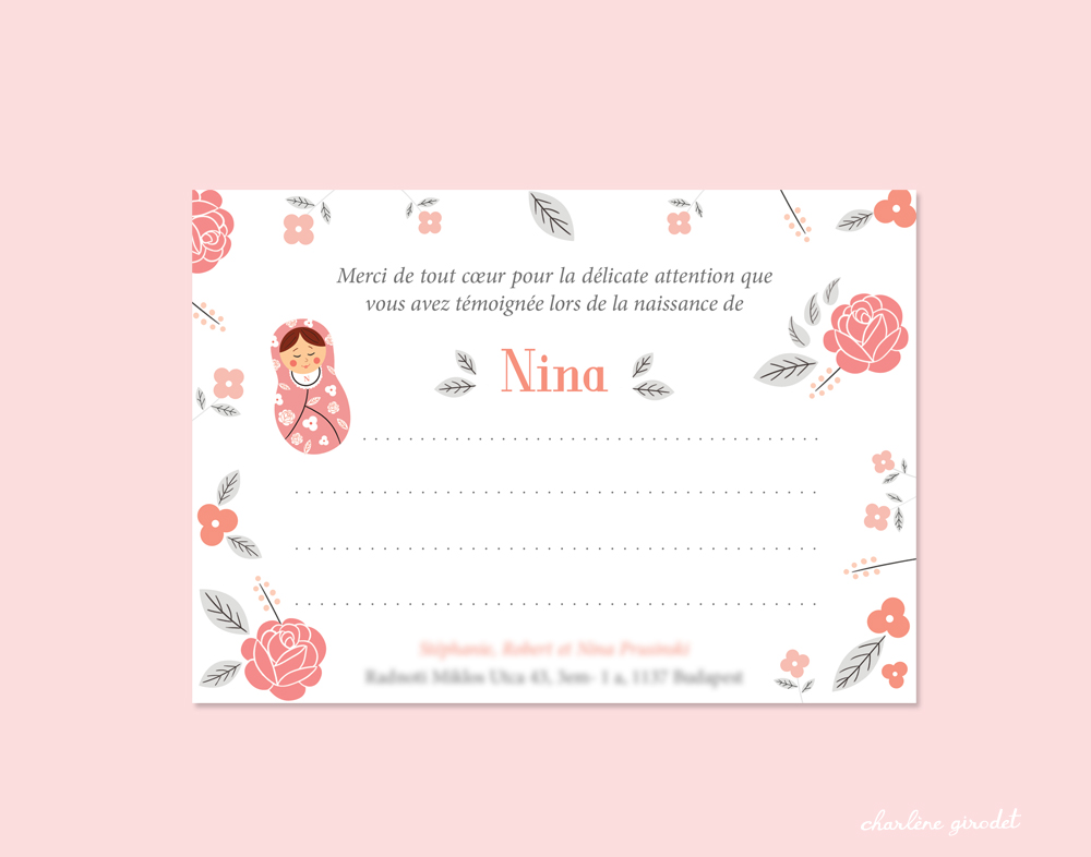 Faire-Part de naissance Nina - Charlène Girodet