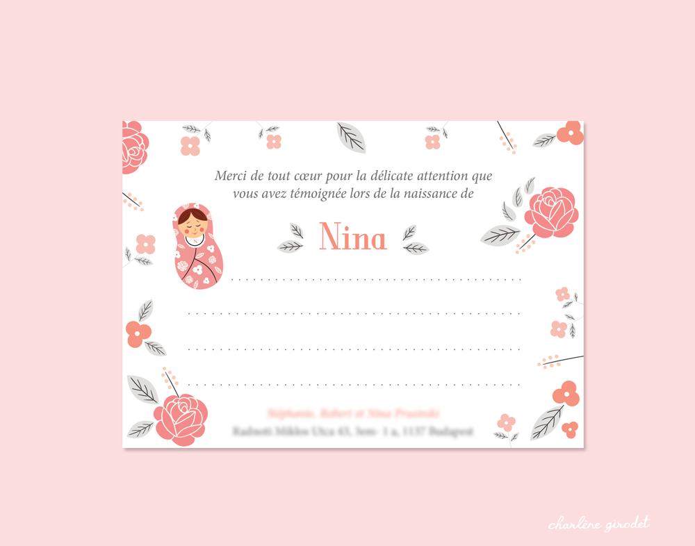 Faire-part naissance - Nina - Charlène Girodet