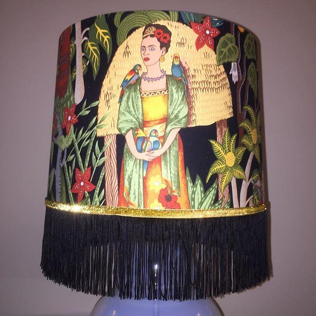 "Finished adding the trim to the lovely ""Night with Frida"" lampshade. #fridakahlo #lamp #trim #handmade"