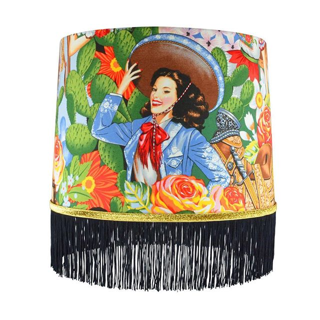 "It's official the new ""Mis Señoritas"" lampshade design is beautiful. Look for these on sale with @houzz soon. #popyospace #makeitpop #latin #mexican #pride #confetti #fringe #handmade"
